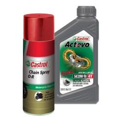 Kit Castrol Actevo Mineral 4T 20W50 + Lubricante de Cadena