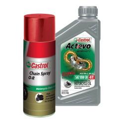 Kit Castrol Actevo Part Synthetic 4T 10W30 + Lubricante de Cadena